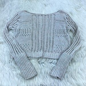 Free People Marled Open Knit Pullover Sweater